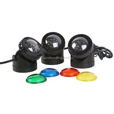 3 LED POND FOUNTAIN LIGHT IN/OUT WATER UL LISTED NEW UNDERWATER SUBMERSIBLE