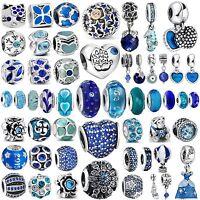 2018 New Arrival Blue Bead Fine Charms Fit 3mm Women 925 Silver Bracelets Chain