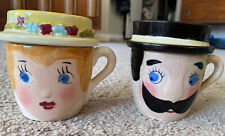 Vintage Mom And Pop Mugs With Ashes Ashtray Lids