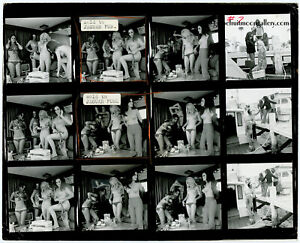 Bunny Yeager 1960s Pin-Up Contact Sheet Photograph Four Model Miami Yacht Shoot