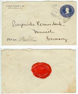 1909 Boston Massachusetts 5ct PSE to Germany via Steamship Mauretania