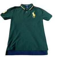 Ralph Lauren In Game Polo Shirt Medium (8-10) Green Color Block Big Pony Ladies