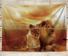 WALL JACQUARD WOVEN TAPESTRY Lions in Savanna WILD LIFE ANIMAL NATURE PICTURE