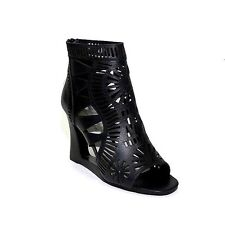 Jeffrey Campbell Chariot Black Laser-cut wedge booties sz 7 new