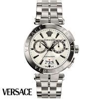 Versace VE1D00319 Aion Chronograph silber Edelstahl Armband Uhr Herren NEU