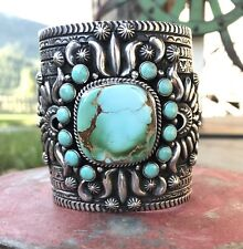 Darryl Becenti ROYSTON Cuff Bracelet with Sterling Repousse Stamping ~Signed~