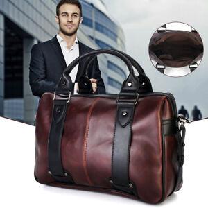 Men Brown Briefcase Messenger Leather Laptop Busines Shoulder Bag Handbag
