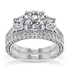 GIA 2 CT Round Cut Diamond Engagement Ring VS2 F 14K White Gold