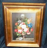 Vintage Artist PENN Signed Framed Oil on Canvas Floral Flower Still Life