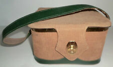 Vintage Brown Corduroy Leather Shoulder Strap Square Box Purse Handbag