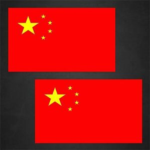 2 China Flag Decals Stickers