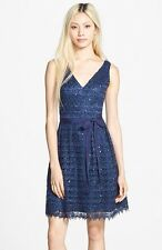 Hailey By Adrianna Papell Sequin Lace Fit & Flare Dress Blue Navy 16 New