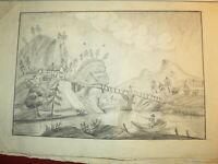 Ecole FRANCAISE XVIII DESSIN PIERRE NOIRE PAYSAGE ANIME ART POPULAIRE 1780 d