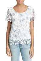 JOIE Devine B Lace White & Blue Embroidered Floral Top Size XS Short Sleeve