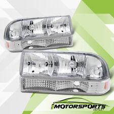 1998-2004 Chevrolet Chevy S10/Blazer Chrome Headlights w/Bumper Signal Lamps Set