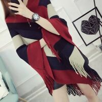 Women Poncho Wrap Cape Shawl Knitted Cloak Stripe Batwing Sweater Top Tassel Red