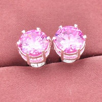 Novel Woman Jewelry Gift Natural Pink Topaz Gems Solid Silver Stud Earrings