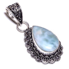 Caribbean Larimar .925 Silver Plated Hand Carving Pendant Jewelry L26