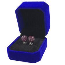 Dark Purple Earring Ear Stud Top Quality Czech Crystal Clay Bead 925Silver Metal