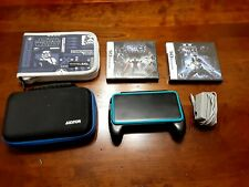 Nintendo 2DS XL Handheld System - Black & Turquoise Modded w/Games & Accessories