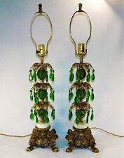 Lovely Pair of Hollywood Regency Lamps Mid Century Green Hanging Crystal Cherubs
