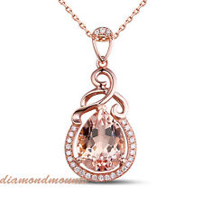 2.45CT Pink Morganite Solid 18K Rose Gold Natural Diamond Pendant Necklace