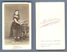 Melchione, Marseille, jeune fille au coffret Vintage CDV albumen carte de visite
