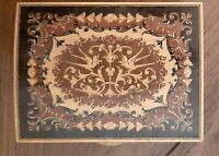 Vintage Wood Inlay Marquetry Trinket Box - Cards Jewelry - Bird Motif