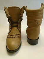 Justin women's lace - up kiltie ankle boots size 6.5 B Leather Brown