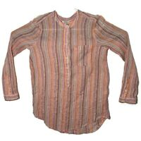 Lucky Brand Womens Small Pink Orange Striped Long Sleeve Button Blouse Shirt Top