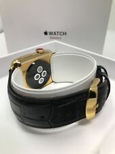 24k ORO 38mm Apple Reloj Series 3 Acero Inoxidable Cuero Negro Cocodrilo BANDAS