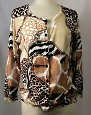 Cardigan Sweater Joseph A. qu'est-ce quec'est silk -Giraffe Zebra Leopard RAYON