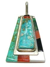 """NATIVE AMERICAN SIGNED """"TJO"""" STERLING SILVER TURQUOISE CORAL PENDANT OR CHARM"""
