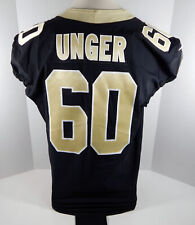 2018 New Orleans Saints Max Unger #60 Game Issued Black Jersey Benson Patch