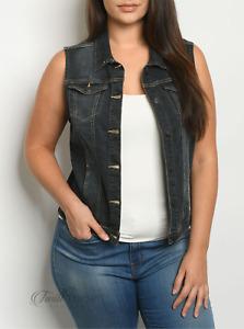 Bottlette   Black Denim Wash Plus Size Button Front Vest   NWT Size: M, L, XL