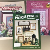 Lot of 3 cross stitch charts booklets Gardening Plant Kindness Picket Fence Co