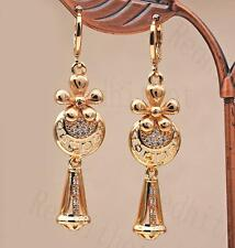 """18K Gold Filled 2"""" Earring 3D Flower Laser Carving Waterdrop Circle Hollow DS"""
