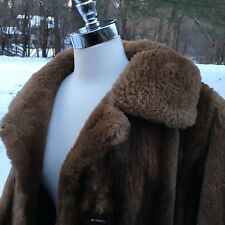 VIntage Fur Coat Mouton Lamb or Sheared Beaver Medium Brown Monogrammed twice