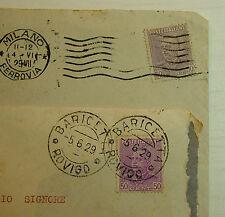 1928  ITALIA  50 centesimi  violetto e lilla  su due  viaggiate