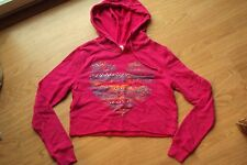 Womens No Boundaries Pink Cropped Hoodie Sweatshirt Heart Rhinestone Bling S 3-5
