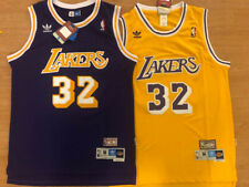 Magic Johnson #32 Los Angeles Lakers Men's Yellow/Purple Sewn Throwback Jersey