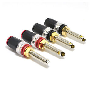 12Pairs Rhodium Plated Copper Speaker AMP Binding Post Cable Plug Banana Socket
