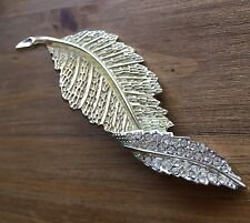 Vintage Signed Sarah Coventry Large Folded Leaf Brooch with Rhinestones