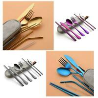Portable Travel Dinnerware Cutlery Camping Dinner Sets Tableware Stainless P1M3