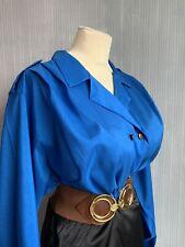"""Shiny Blue Vintage Blouse Size 20/22/24 50"""" Bust Secretray Mistress"""