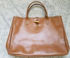 Preowned Longchamp hand work Tote AUTHENTIC RARE camel shoulder french