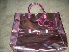 Sanrio Hello Kitty pink metallic roomy tote bag with HK features on one side NWT