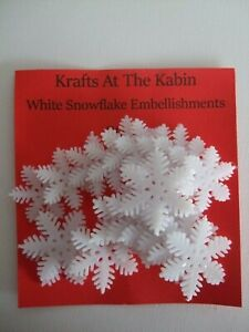 20 Snowflake Embellishments 20 in pack White 2 sizes approx 2.8cm and 3.5cm