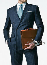 Chalk Stripe Men Suit,Custom Made Navy Blue Men Stripe Suit,Double Breasted suit