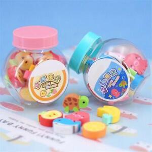 20pcs Mini Kawaii Cartoon Animal Eraser Cute Creative Fruit Rubber Erasers New